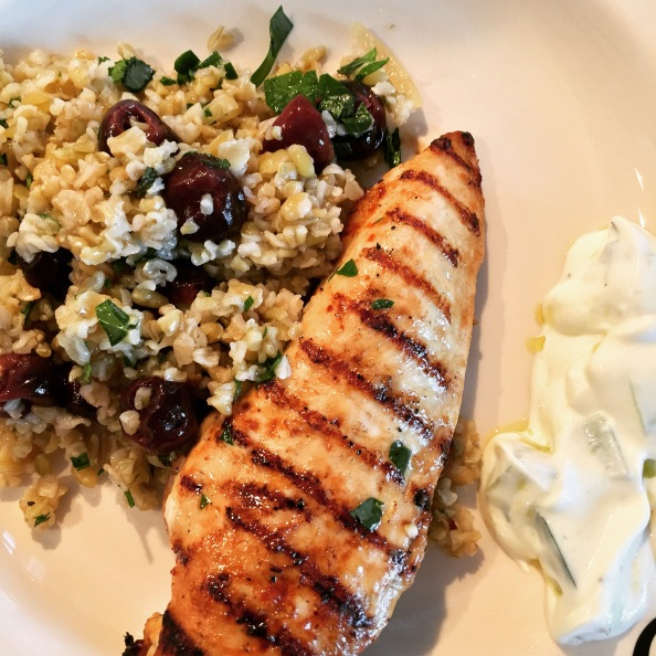 Warm Salad of Griddled Chicken, Freekeh, Preserved Lemon, Sour Cherries and Mint
