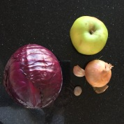 And a cooking apple, garlic, onion, nutmeg...