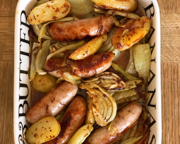 A One Tin Supper: Roasted Sausages, Fennel andPotatoes