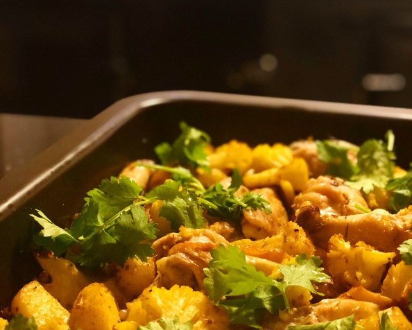 Cauliflower, Chicken and Potato Traybake