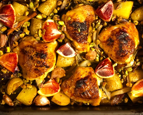 Chicken, fennel and blood orange traybake